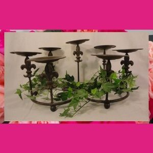 7 Tier Metal Wrought Iron Brownish Candle Pillar